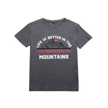 Losse en veelzijdige letter korte mouw katoen gedrukt t-shirt (kleur: donkergrijs maat:S)