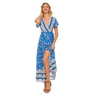 V-hals Cardigan Lace-up Bedrukte strandjurk (kleur: hemelsblauwe maat:L)