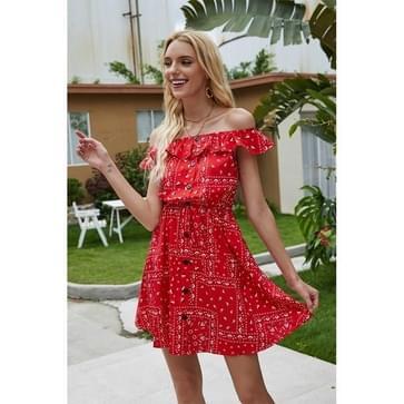 Gegolfde schouderborst bedrukte jurk (kleur: rood formaat: l)