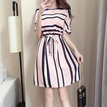 Korte mouw Casual Gestreepte jurk (kleur: roze maat: XXXL)