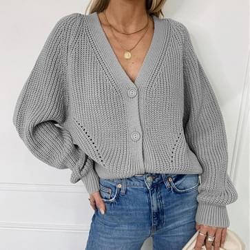 V-hals Lantern Sleeve Button Knit Cardigan Sweater (Kleur: Grijs formaat:XL)