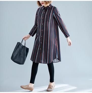 Groot formaat los uitziende dunne westerse stijl lang gestreept gedrukt shirt (kleur: rood formaat: XL)