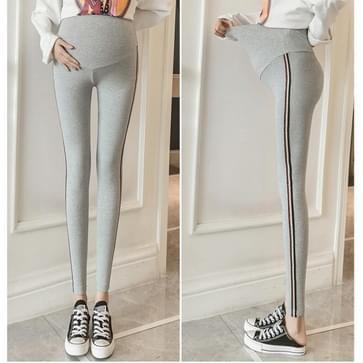 Mode trendy moeder buik lift zwangere vrouwen broek lente en herfst dunne broek (kleur: licht grijs maat: l)