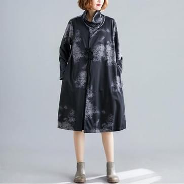 Temperament losse grote grootte buik jurk (kleur: zwart formaat: XXXL)