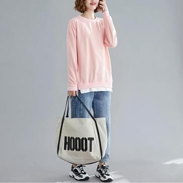 Losse buik afslanken top plus fluwelen dikke trui (kleur: roze maat: l)