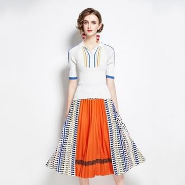 Autumn Fit All-match Sweater + Geplooide contrast print rok tweedelige pak (kleur: oranje maat: M)
