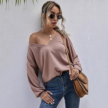 Sexy V-hals Casual Sweater Loose Veelzijdige Bottoming Sweater (Kleur: Roze Maat: L)