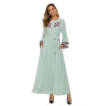 Vrouwen moslim ronde nek geborduurde lange jurk (kleur: lichtgroene maat: XXL)