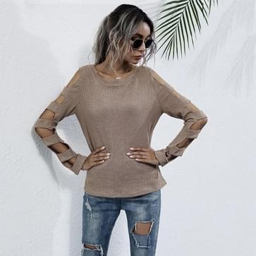 Hollow Casual Sweater Slim Round Neck Sweater (Kleur: Kaki Maat:XL)