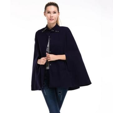 Vrouwen Woolen Stand-up Kraag Mouwloze Mantel Trench Coat (Kleur: Navy Blue Size:L)