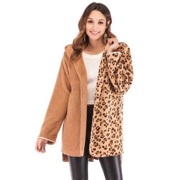 Dubbelzijdige Fluff Leopard Print Capuchon lange mouw jas (kleur: als showgrootte: M)