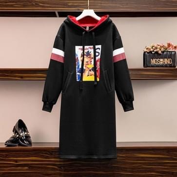 Contrast Print Hooded Plus Fleece Sweater Dress (Kleur: Black Size:XXL)