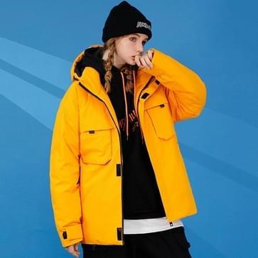 Winter Dames Short Offset Printing Pattern Down Jacket Loose Casual Cold-proof Warm White White Duck Down Coat met afneembare cap (kleur: geel formaat: M)