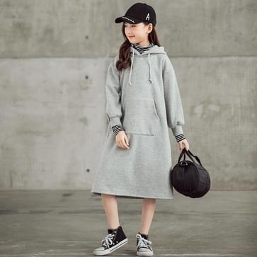 Meisje Plus Fluweel Verdikking Kleur Contrast Streep Hoge Kraag Hooded Mid-length Jurk (Kleur: Grijs Maat: 160cm)
