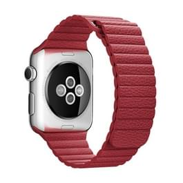 Voor Apple Watch 42mm Clasp lus magnetische sluiting PU leer Watchband(Red)