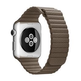 Voor Apple Watch 42mm Clasp lus magnetische sluiting PU leer Watchband(Brown)