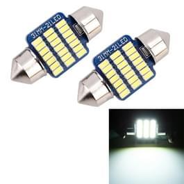 2 stuks 31mm DC12V/1W/6000K/65LM 21LEDs SMD-3014 auto nummerplaat licht/Dome licht  met decoder