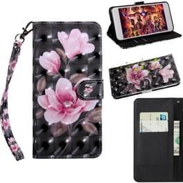 3D-schilderij patroon gekleurde tekening horizontale Flip TPU + PU lederen draagtas met houder & kaartsleuven & portemonnee voor Alcatel 1X 5059D (roze bloem)