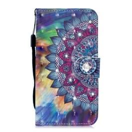 3D Diamond ingelegde schilderij patroon gekleurde tekening horizontale Flip PU lederen draagtas met houder & kaartsleuven & portemonnee voor Galaxy A20e (olie geschilderde Mandala)