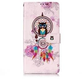 Olie reliëf gekleurde tekening patroon horizontale Flip PU lederen draagtas met houder & kaartsleuven & portemonnee & fotolijstjes voor Galaxy S10 5G (Owl wind chimes)