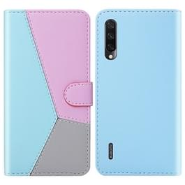 Voor Xiaomi mi a3/mi CC9e Tricolor stiksels horizontale Flip TPU + PU lederen draagtas met houder & kaartsleuven & portemonnee (blauw)