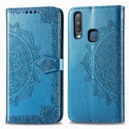 Voor Vivo Y3 Embossed Mandala Pattern PC + TPU Horizontal Flip Leather Case met Holder & Card Slots(Blauw)