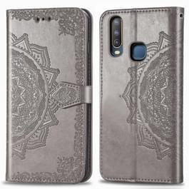 Voor Vivo Y3 Embossed Mandala Pattern PC + TPU Horizontal Flip Leather Case met Holder & Card Slots(Grijs)