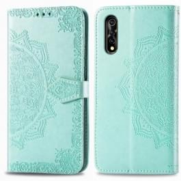 Voor Vivo Y7S Reliëf Mandala Patroon PC + TPU horizontale flip lederen behuizing met houder & kaartsleuven (groen)