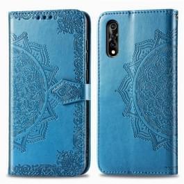 Voor Vivo Y7S Reliëf Mandala Patroon PC + TPU horizontale flip lederen behuizing met houder & kaartsleuven(blauw)