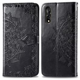 Voor Vivo Y7S Embossed Mandala Pattern PC + TPU Horizontal Flip Leather Case met Holder & Card Slots(Zwart)