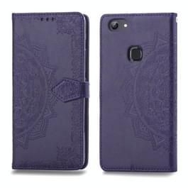 Voor Vivo Y83 Embossed Mandala Pattern PC + TPU Horizontal Flip Leather Case met Holder & Card Slots(Purple)