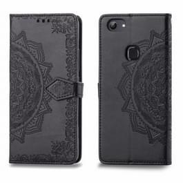 Voor Vivo Y83 Embossed Mandala Pattern PC + TPU Horizontal Flip Leather Case met Holder & Card Slots(Zwart)