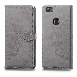 Voor Vivo Y83 Embossed Mandala Pattern PC + TPU Horizontal Flip Leather Case met Holder & Card Slots(Grijs)