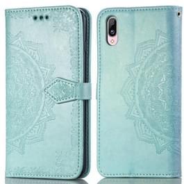 Voor Vivo Y93 Embossed Mandala Pattern PC + TPU Horizontal Flip Leather Case met Holder & Card Slots(Groen)