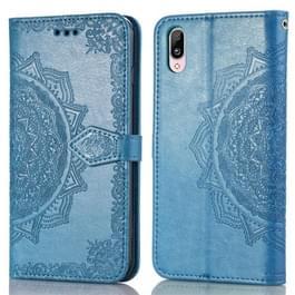 Voor Vivo Y93 Reliëf Mandala Patroon PC + TPU horizontale flip lederen behuizing met houder & kaartsleuven(blauw)