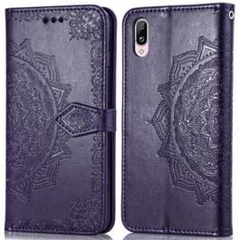 Voor Vivo Y97 Embossed Mandala Pattern PC + TPU Horizontal Flip Leather Case met Holder & Card Slots(Purple)