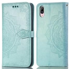 Voor Vivo Y97 Embossed Mandala Pattern PC + TPU Horizontal Flip Leather Case met Holder & Card Slots(Groen)