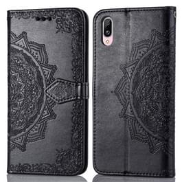Voor Vivo Y97 Embossed Mandala Pattern PC + TPU Horizontal Flip Leather Case met Holder & Card Slots(Zwart)