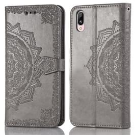 Voor Vivo Y97 Embossed Mandala Pattern PC + TPU Horizontal Flip Leather Case met Holder & Card Slots(Grijs)