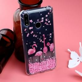 Patroon olie reliëf TPU Case voor Huawei Y7 2019 (Cherry Blossom Flamingo Pattern)