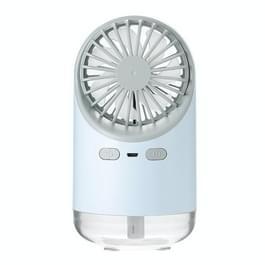 Multifunctionele USB-oplaad spray bevochtiging Desktop elektrische ventilator met LED warm gele Lees lamp  ondersteuning 3 snelheidsregeling (blauw)