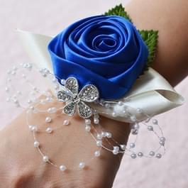 Handgemaakte Wedding Bride pols bloem corsages boeket Corsage Diamond satijn Rose Flowers(Blue)