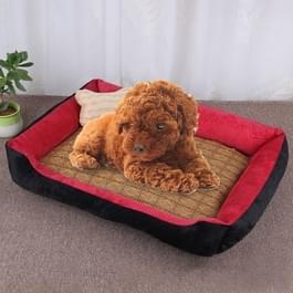 Dog Bone patroon grote zachte warme Kennel huisdier hond kat Mat deken  met rotan Mat grootte: L  80 Ã 60 Ã 15 cm (zwart-rood)