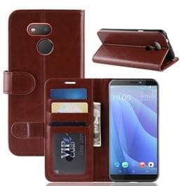 R64 Textuur enkele vouw horizontaal spiegelen lederen Case voor HTC Desire 12S  met houder & portemonnee & kaartsleuven & Foto Frame(Brown)