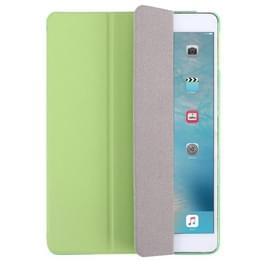 Voor iPad Air / iPad 5 Plain Weave textuur PU leder + doorschijnend Frosted Plastic behuizing met 3-vouwen houder (groen)