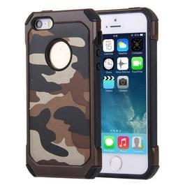 Voor iPhone 5 & 5s & SE Camouflage patronen schokbestendige harde Armor PC + siliconen combinatie Case(Brown)