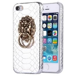 iPhone 5 & 5S & SE Slangenhuid structuur Kunststof back cover Hoesje met leeuwenkop ring houder (zilverkleurig)