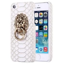 iPhone 5 & 5S & SE Slangenhuid structuur Kunststof back cover Hoesje met leeuwenkop ring houder Wit
