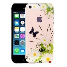 Voor iPhone 5 & 5s & SE wit chrysant patroon IMD vakmanschap TPU beschermende softcase