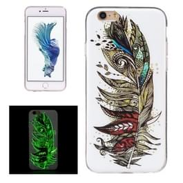 For iPhone 6 & 6s Noctilucent Feather Pattern IMD Workmanship Soft TPU Back Cover Case